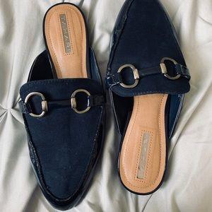 Navy Blue Tahari Mules